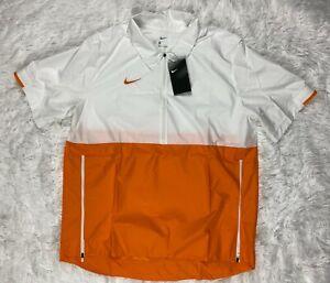 SZ L   Nike Men's Short Sleeve 1/2 Zip Football Windbreaker Jacket Orange CI4479