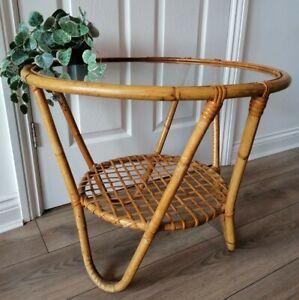 Vintage Cane Rattan Bamboo Glass Top Side Coffee Table Boho Retro Tiki Style