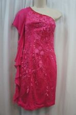 Sue Wong Dress Sz 4 Fuchsia Pink Beaded One Shoulder Cocktail Party Sheath Dres