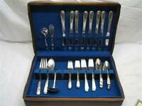 Holmes & Edwards Inlaid Youth Silverplate Flatware Set 47 pcs w/Box F