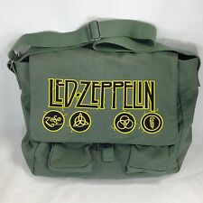Led Zeppelin Olive Green Canvas Messenger Bag Shoulder Strap Pockets Laptop Band