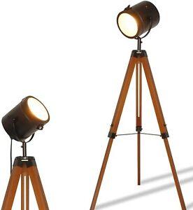 Industrial Tripod Floor Lamp for Living Room Bedroom, Vintage Spotlight Reading