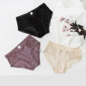 3 PACK Women's 100% Silk Lace Thin Sexy Panties Briefs Underwear Knickers  TG005