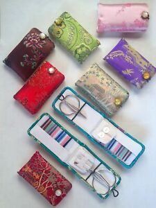 **NEW COLOURS** Vintage 1980's Chinese Brocade Travel Sewing Kit, button closure