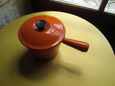 Vintage Poêlon caquelon à fondue LE CREUSET fonte émaillée orange parfait état