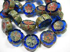10 beads - Sapphire Blue Travertine Czech Glass Flower Beads 14mm
