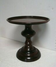 Yankee Candle Tall metal faux wood Jar/Pillar Candle Holder Pedestal cake stand