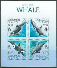 SOLOMON ISLANDS 2013 KILLER WHALE SHEET OF FOUR STAMPS