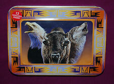 "#95634 EAGLE,WOLF,BUFFALO 4""X 6"" BLANK NOTE CARDS, ENVELOPES AND PHOTO FRAME TIN"