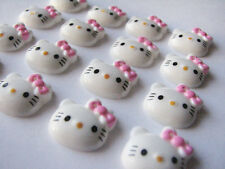 10 Hello Pink Ribbon Bow Kitty Resin Cabochons  KAWAII DIY Flatback