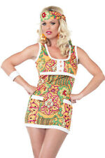 Anni 70 donna FANCY DRESS Retro ben OUT Hippie Hippy 8-12