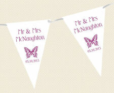 PERSONALISED WEDDING BUNTING - BANNER - BUTTERFLY DESIGN choice of flag colours