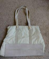 LAMARTHE PARIS TOTE BAG Purse nylon suede tan beige cream removable handle