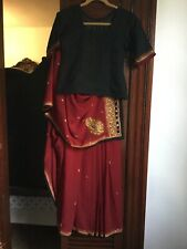 indian saree bollywood wedding new design stitched ready to wear maroon/black.