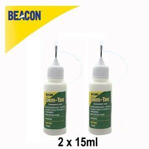 2 X 15ml Beacons Gem-Tac Glue Crystal Rhinestone Swarovski Diamante Needle Tip
