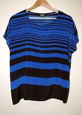 DKNY Silk Blue & Black Blouse size S
