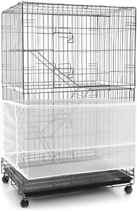 Adjustable Bird Cage Net Cover Birdcage Seed Feather Catcher Soft Skirt Guard Bi