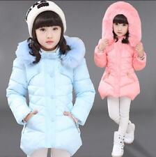 Kids Girls WINTER Padded Warm Coat Jacket Fur Collar Outerwear Size3Y-12Y gift