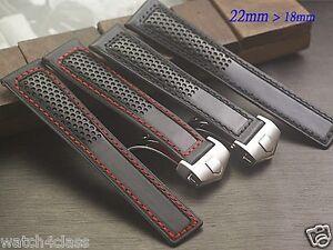 Genuine Leather Band Strap bracelet 22mm fits TAG HEUER monaco CARRERA red black