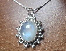 Moonstone Starburst 925 Sterling Silver Oval Necklace