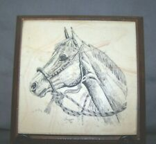 """Vintage Horse Decor Marble Wood 5"""" x 5"""" Hanover Illinois Made in USA ~ Excellent"""