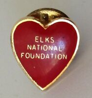 ELKS National Foundation Small Red Heart Pin Badge Quality Retro Vintage (N2)