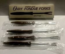 Vintage Oster FONDUE FORKS Set Of 4 Stainless Steel Brown Wood Handle