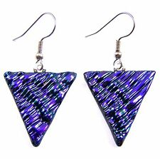 """Dichroic Glass Earrings Purple Triangle Ripple 1"""" Dangle Surgical Wire or Clip"""