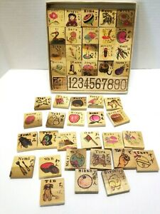 Japanese Wood Picture Blocks In Box Learn Kanji 47 pieces Dumbo