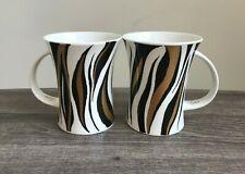 2 Dunoon Vogue Bone China Tiger Stripe Mugs - Anne Searle - England - Vguc