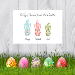 Personalised Easter Cards x 10 Free Envelopes Gnomes Family Friends  1