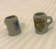 2 German Beer Stein Mugs Vintage Mini Cups Germany Mug Ceramic Cup