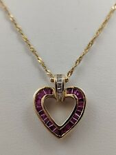 14K YELLOW GOLD RUBY DIAMOND HEART NECKLACE