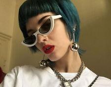 Mohawk Ladies Half Round Frame Sunglasses White & Grey Lens UV400 Y161