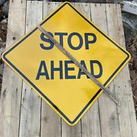 "Stop Ahead Road Sign 30x30"" Street Highway Yellow Sign Vintage Man Cave Garage"