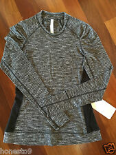 NWT Lululemon Size 6 Think Fast Long Sleeve Coco Pique Black/Black LS Run