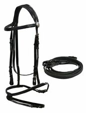 ENGLISH HORSE DRESSAGE EVENTING RACING BLACK BIOTHANE BRIDLE W/ RUBBER REINS