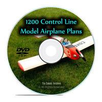 1,200 Control Line Remote Control RC Radio Model Airplane Plans, PDF DVD I25