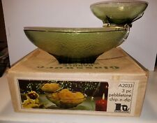 Vintage Hazelware Pebblestone 3 Piece Glass Chip-N-Dip Set Avocado A-2033 W/Box