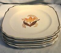 Set of 6 Bakerite Harker Modern Tulip Square Luncheon Plates