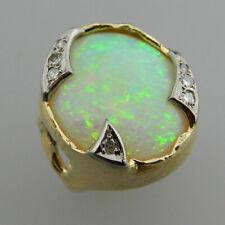Juweliersanfertigung 585er Gold Ring mit großem Edelopal & 7 Diamanten - V5978