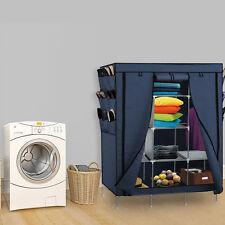 "Portable Closet Storage Organizer Clothes Shoe Wardrobe Rack w/Shelves Blue 69"""