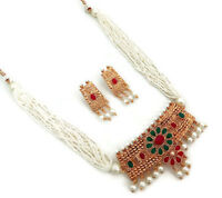 Indian Ethnic Bollywood Gold Plated Rhinestone Pearl Bridal Jewelry Necklace Set