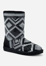 Justice Girl's Size 5 Sequin Diamond Print Cozy Boots in Black New with Tags