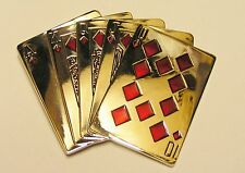 Glossy Chrome Finish Straight Flush Poker Cards Hand Belt Buckle fix 2 own belt