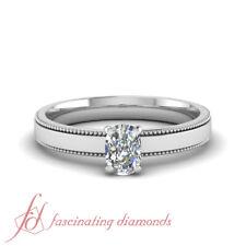 3/4 Ct Cushion Cut:Ideal Diamond Solitaire Milgrain Engagement Ring SI2-F Color