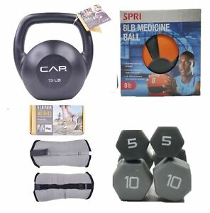 5 10 15 20 lb Pound Neoprene Dumbbells Pairs Kettlebell Weight Training Gift Set