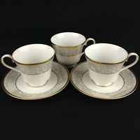 VTG Set of 3 Cups and 2 Saucers by Nikko Fine China Evening Lace 2750 Thailand