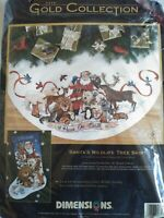 Dimensions Gold Collection Santa's Wildlife Tree Skirt Counted Cross Stitch Kit