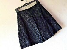 ELIE TAHARI 8 BLACK LACE OVERLAY SKIRT Floral Lined Mini Cotton CAREER WEAR Mod